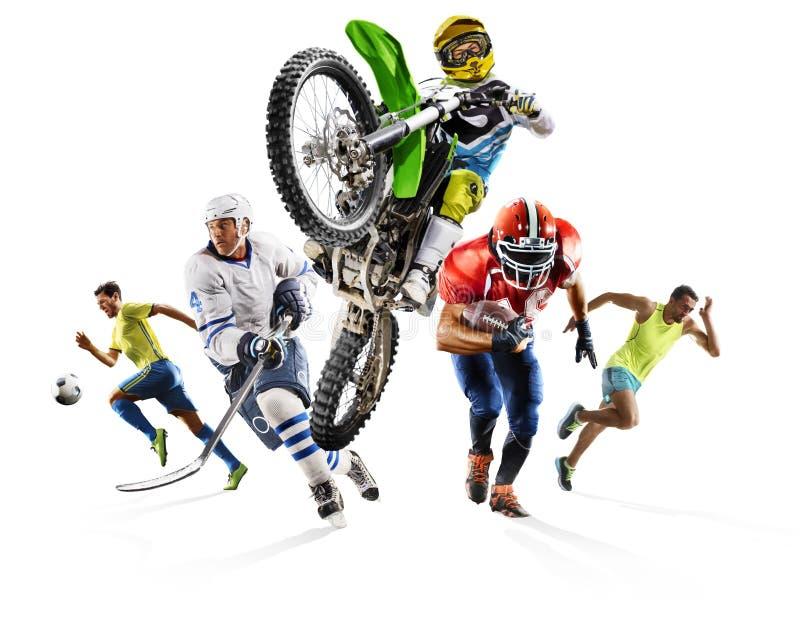 巨大的多体育拼贴画足球竞技橄榄球曲棍球摩托车越野赛 免版税库存图片