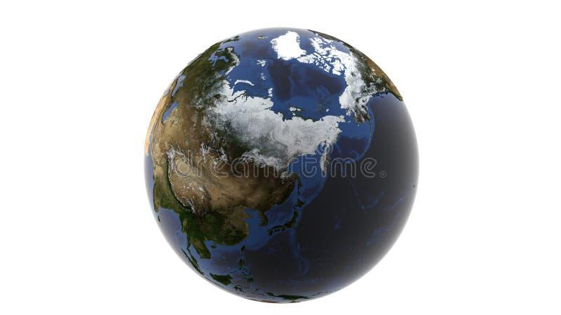 巨大的多雪的俄罗斯和阿拉斯加,地球, 3d翻译,这个图象furnis的元素被隔绝的地球的看法在白色背景的 皇族释放例证