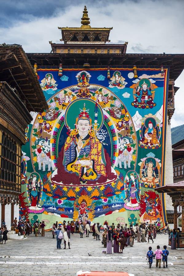 巨大的宗师仁波切Thangka在中央塔,Trashi Chhoe Dzong,廷布,不丹垂悬 免版税库存图片