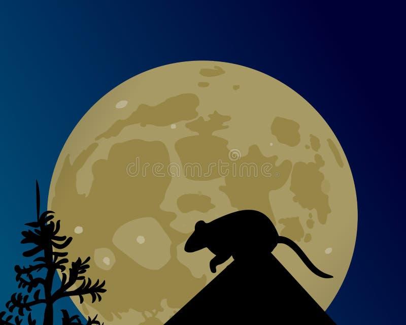 巨大的月亮发光 鼠的剪影在屋顶的 向量例证