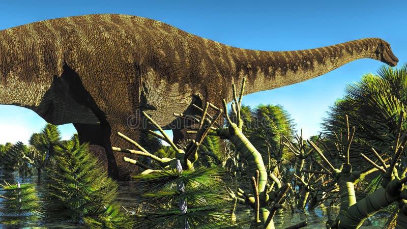 巨大的梁龙在沼泽地, 3d例证 库存例证