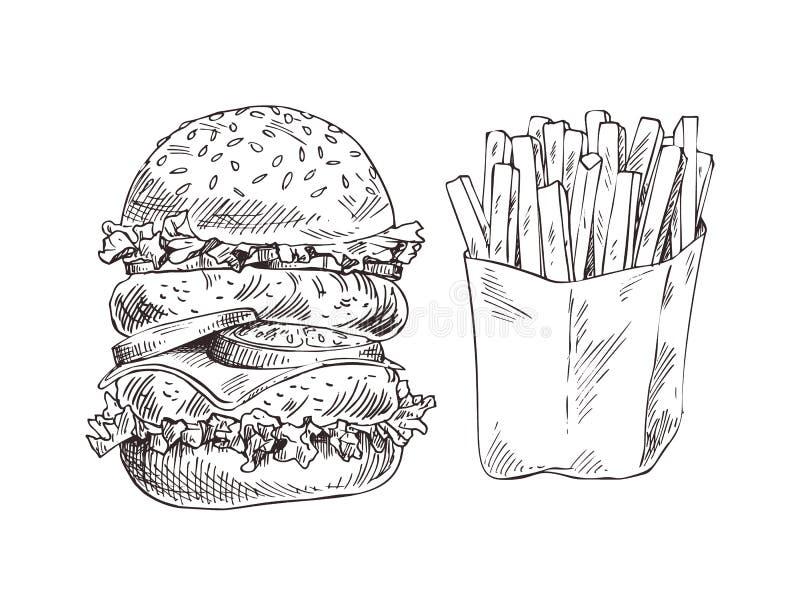 巨大的汉堡包和油煎的土豆形象艺术横幅.图片