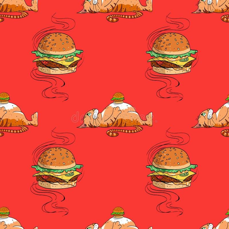 巨大的汉堡包和肥胖猫无缝的样式 皇族释放例证