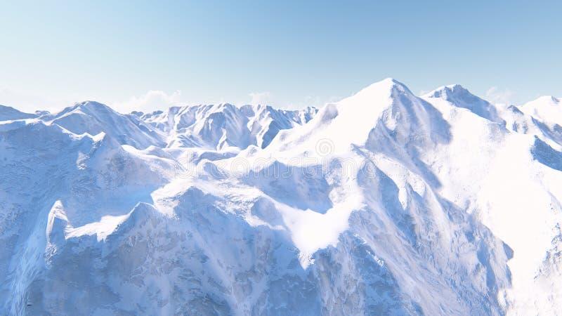 巨大的积雪覆盖的山3D回报 免版税库存图片