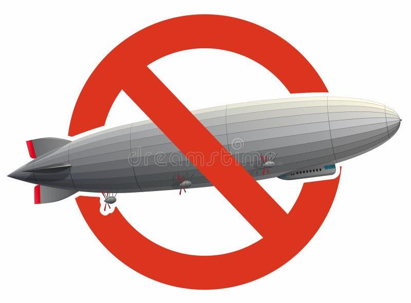 巨大的策帕林飞艇飞艇的禁止用氢填装了 对飞行气球的建筑的严密的禁令 向量例证