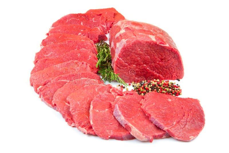 巨大的红肉大块和牛排 库存图片