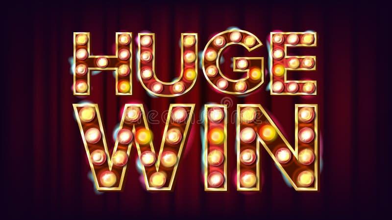 巨大的胜利横幅传染媒介 赌博娱乐场光亮的灯背景 对时运广告设计 赌博的例证 库存例证