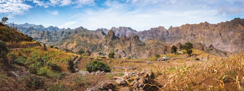 巨大的贫瘠山峰围拢的密集的大阳台耕种的领域的华美的全景视图 库存照片