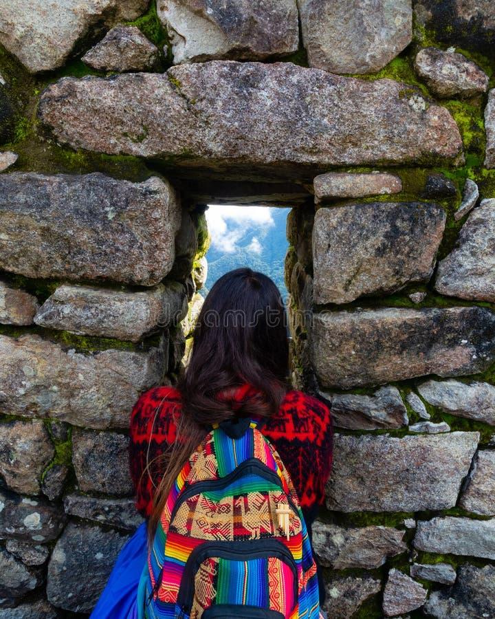 巨大看法在Machupichu,秘鲁 免版税库存图片