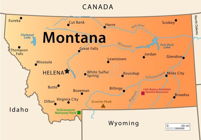 蒙大拿地图 库存例证
