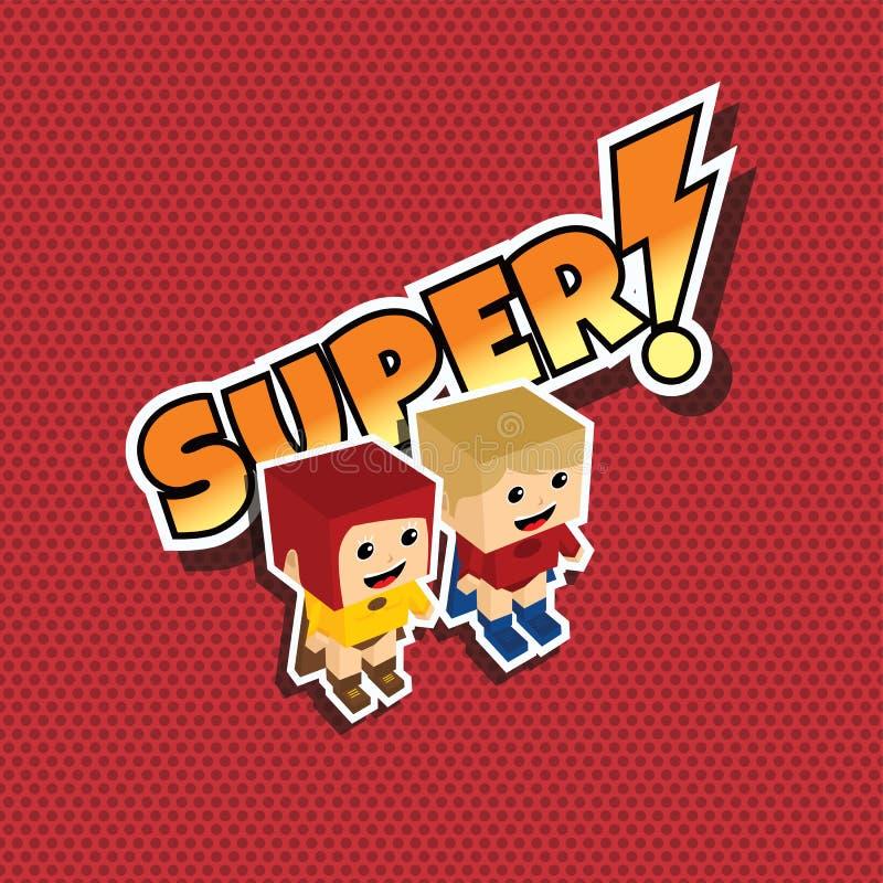 巨大超级英雄夫妇 库存例证