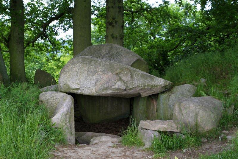 巨石坟墓在Lancken-Granitz,鲁根岛海岛 库存图片
