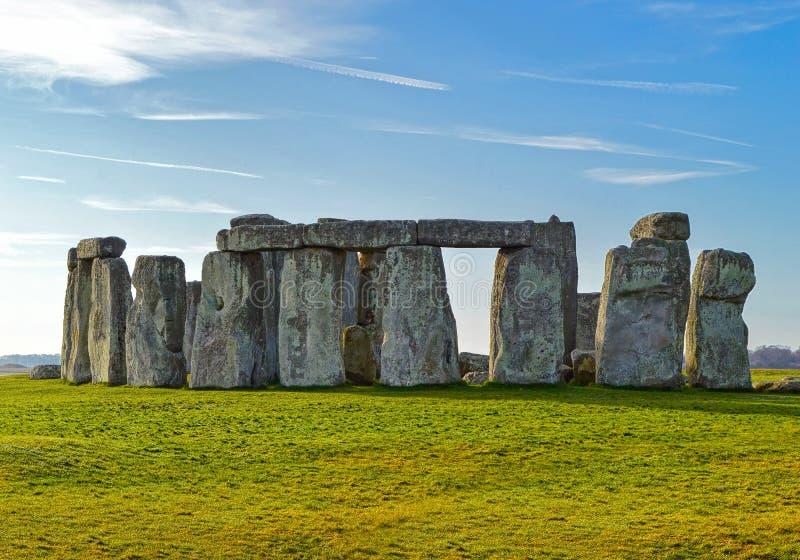 巨石阵史前纪念碑在威尔特郡,英国 免版税库存图片