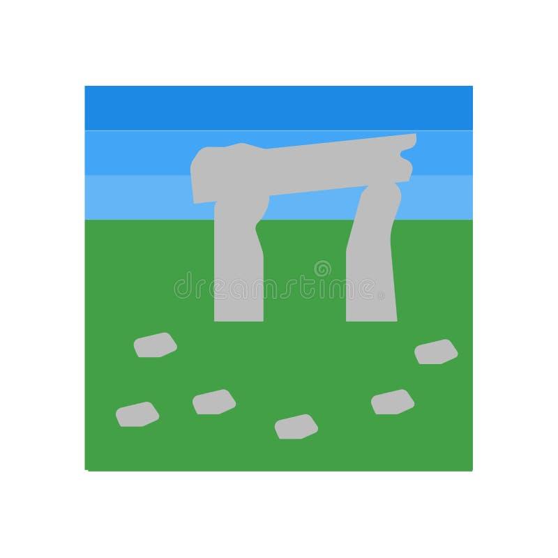 巨石阵在白色背景隔绝的象传染媒介,巨石阵标志,历史石器时期标志 库存例证