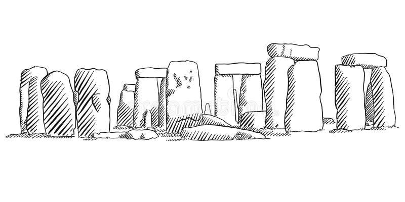 巨石阵,英国历史纪念碑剪影 向量例证