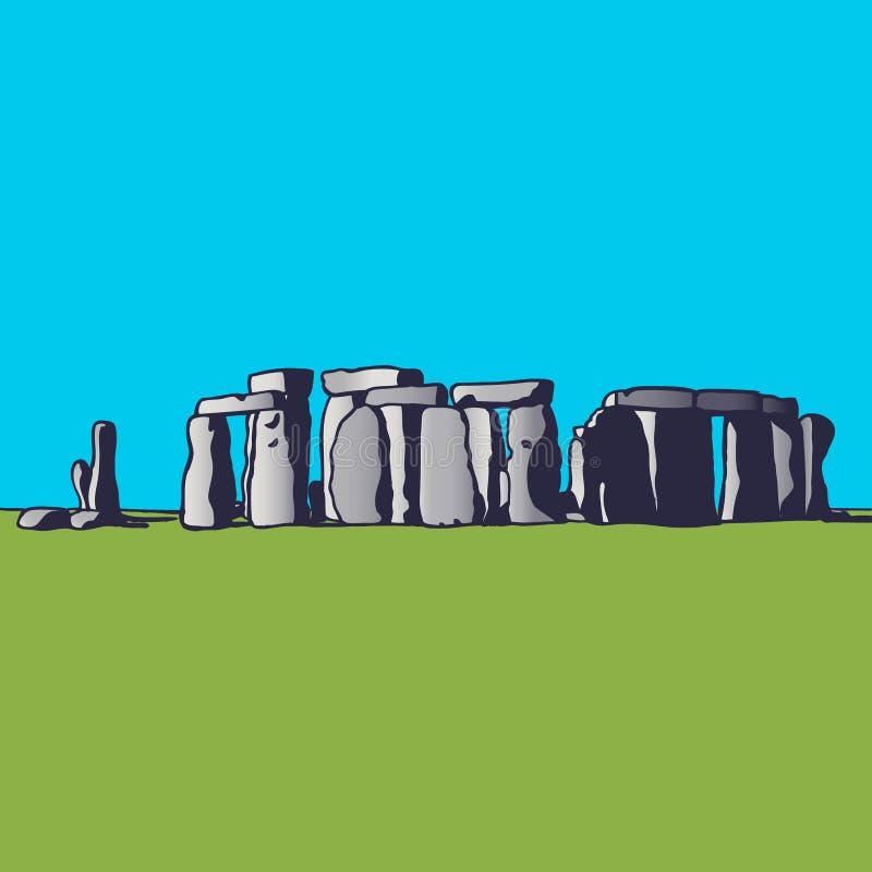 巨石阵 英国的地标 宗教仪式的巨石纪念碑 蓝色云彩图象彩虹天空向量 向量例证