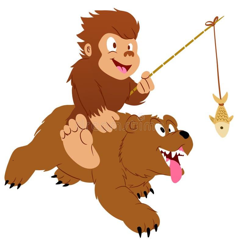 巨足兽和熊 向量例证