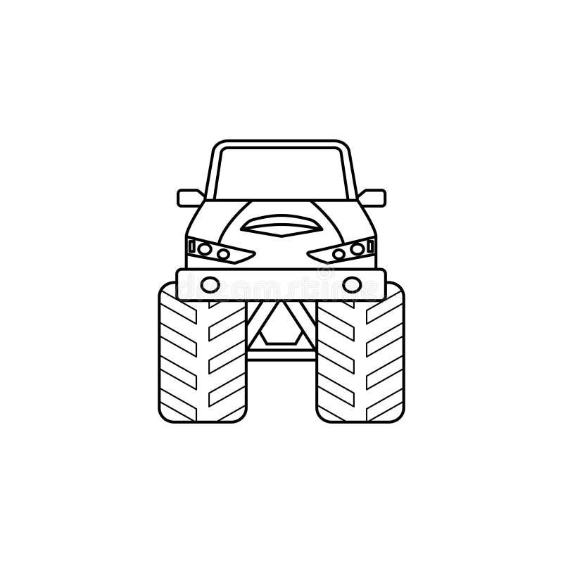 巨足兽汽车前面例证 极端种族的元素流动概念和网apps的 稀薄的线巨足兽汽车前面例证 库存例证