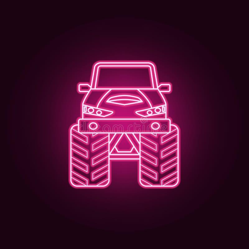 巨足兽汽车前面霓虹象 巨足兽汽车集合的元素 r 库存例证