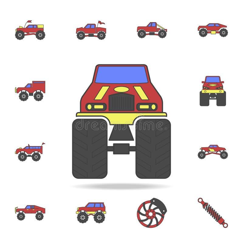 巨足兽汽车前面领域coloricon 详细的套颜色大脚汽车象 优质图形设计 其中一个汇集象 库存例证