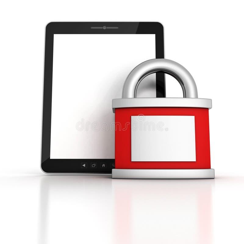 巩固有红色被锁定的挂锁的片剂个人计算机 库存例证