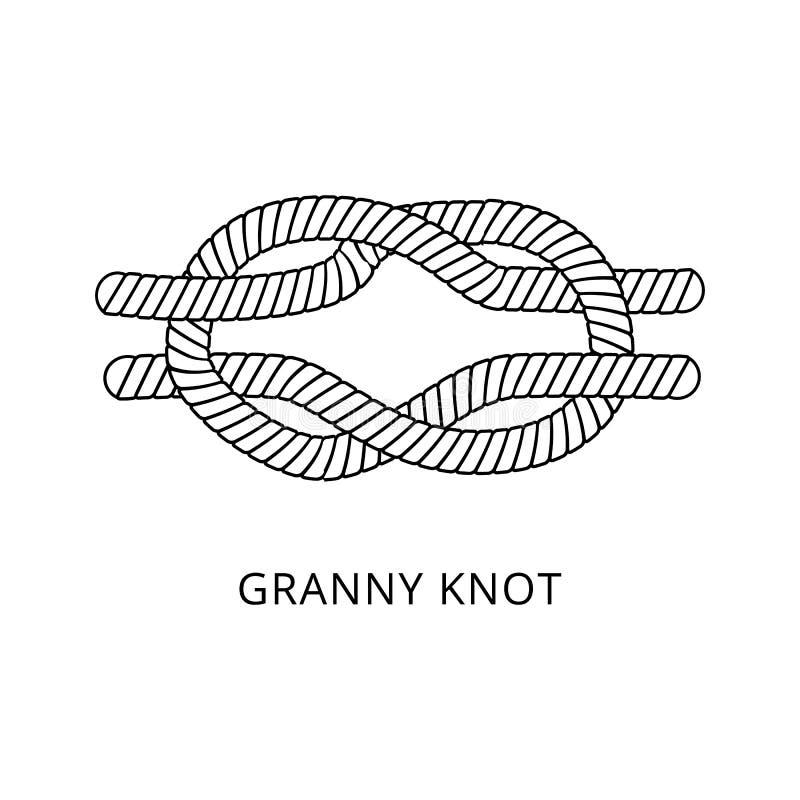 巩固的绳索,船舶串使成环的工艺,与双重圈的扭转的海洋绳子不牢但容易成为死扣之结 库存例证