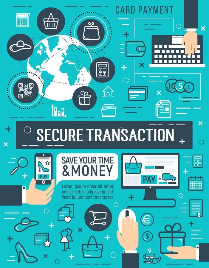 巩固网上金钱交易传染媒介海报 向量例证