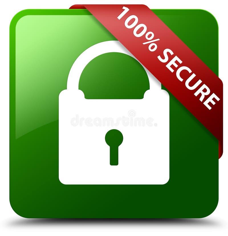 100%巩固绿色方形的按钮 库存例证
