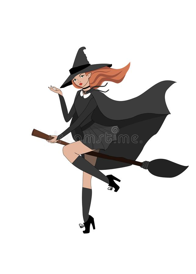 巫婆在帚柄白色背景例证的女孩飞行 向量例证