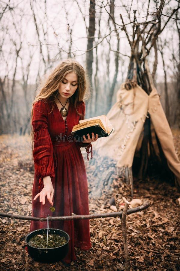 年轻巫婆在秋天森林里 免版税库存图片
