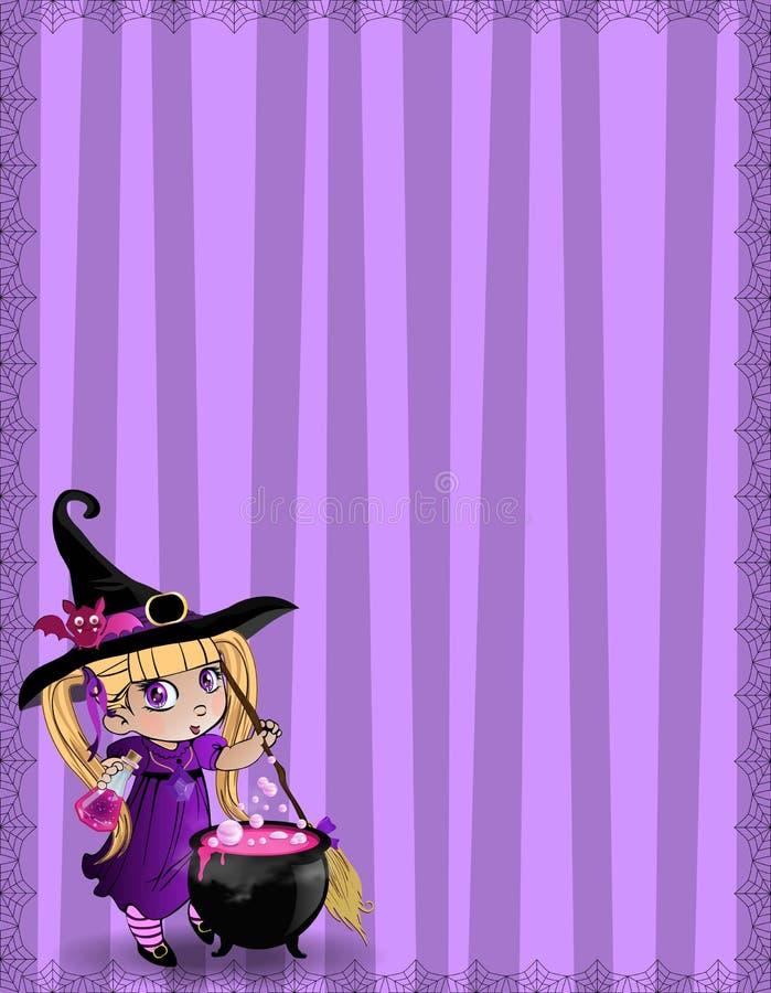 巫婆有帚柄的,大锅,在紫色镶边背景的拷贝空间女婴万圣夜模板  库存例证