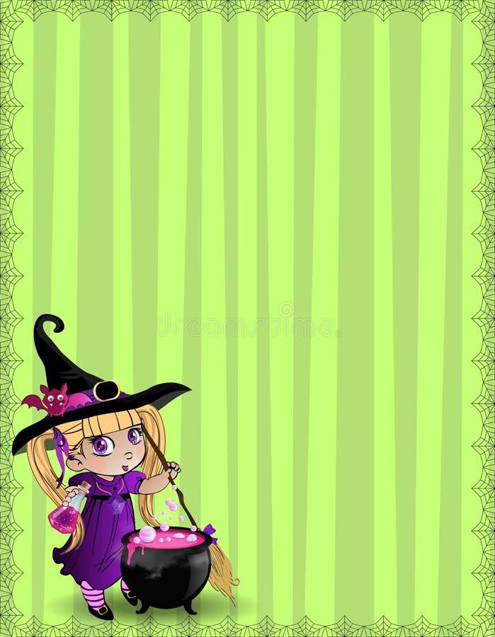 巫婆有帚柄的,大锅,在绿色镶边背景的拷贝空间女婴万圣夜模板  库存例证