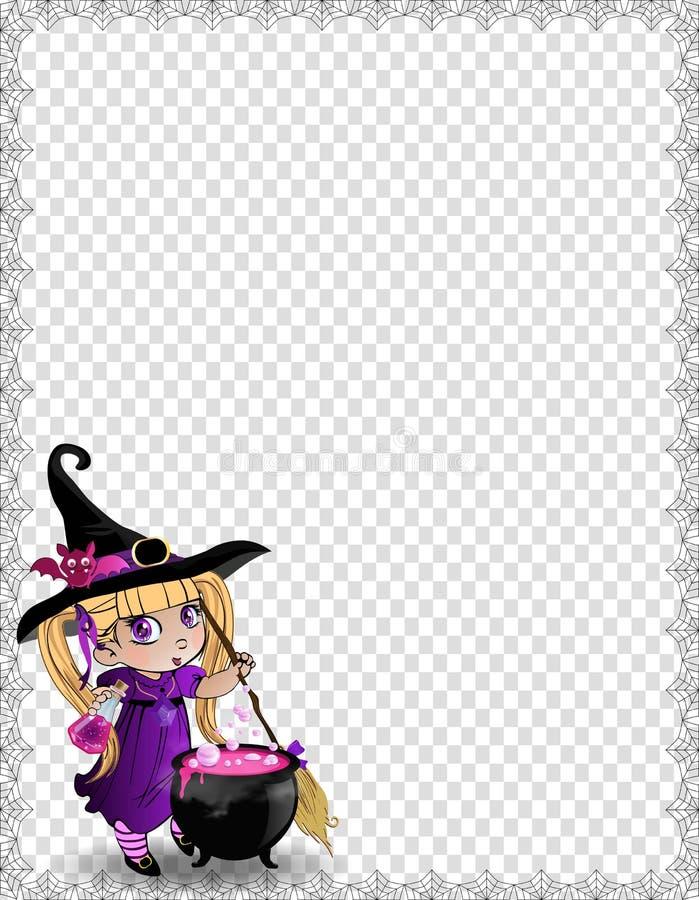 巫婆有帚柄的,大锅,在透明背景的拷贝空间女婴万圣夜模板  向量例证