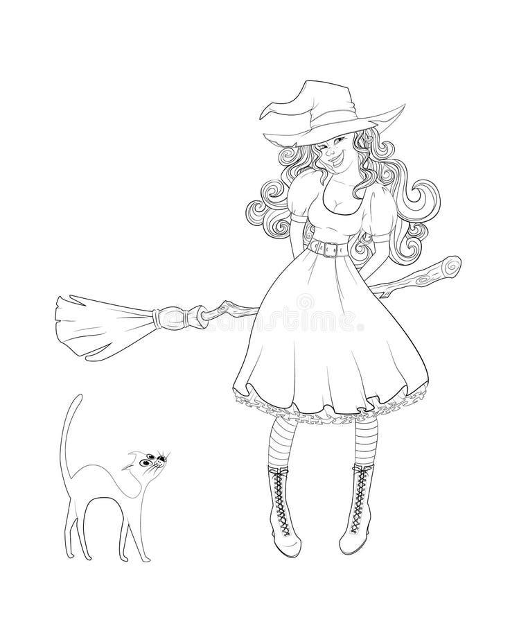巫婆服装和猫的逗人喜爱的女孩在她旁边 库存例证