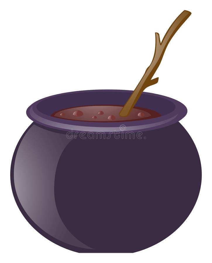 巫婆酿造和木棍子 向量例证