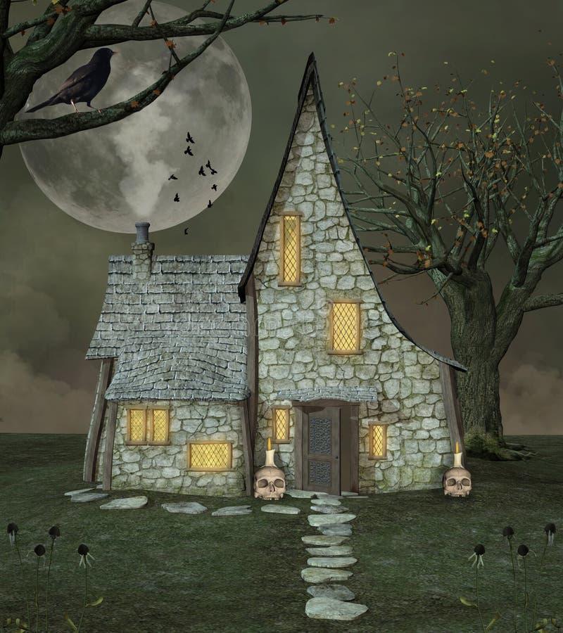 巫婆魔术房子 皇族释放例证