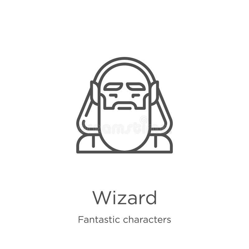 巫术师从意想不到的字符收藏的象传染媒介 稀薄的线巫术师概述象传染媒介例证 概述,稀薄的线 皇族释放例证