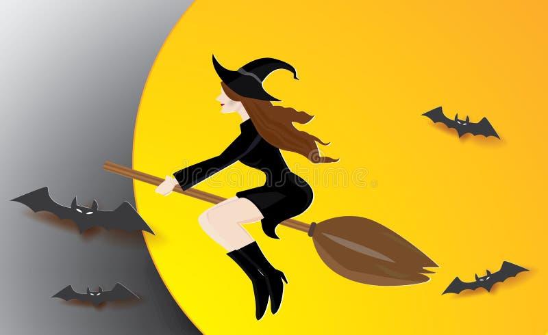 巫术师女孩坐有棒的笤帚 库存例证