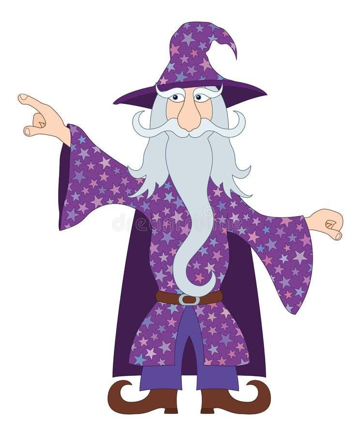 巫术师把他的手指指向某事 向量例证