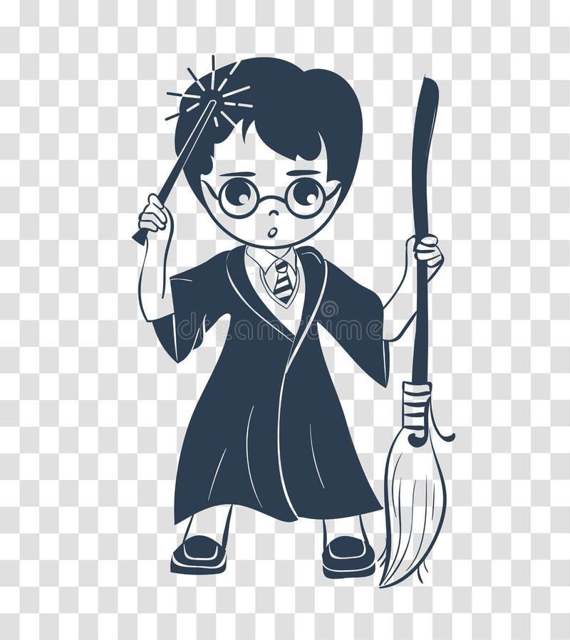 巫术师男孩的剪影象 库存例证