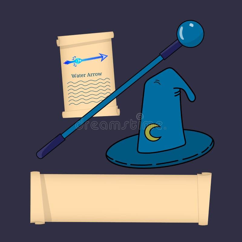 巫术师,Mage,巫师,魔术师类 在白色背景隔绝的巫术师属性 选择您的类 也corel凹道例证向量 向量例证