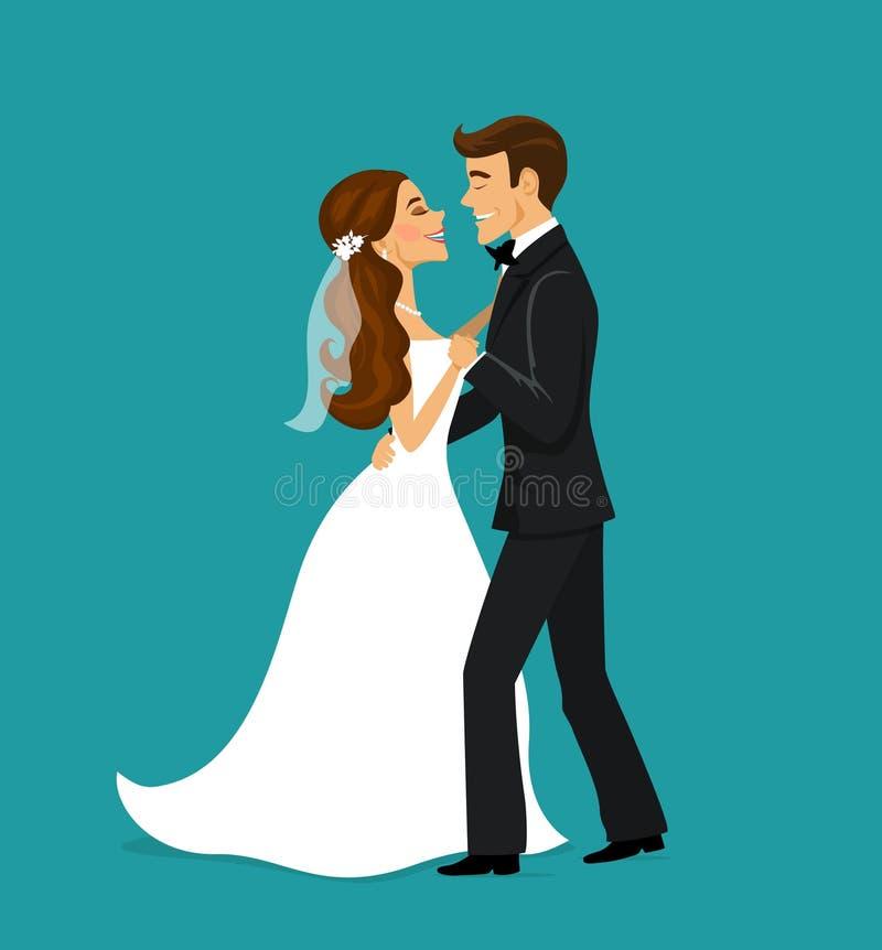 已婚夫妇新娘和新郎跳舞 向量例证
