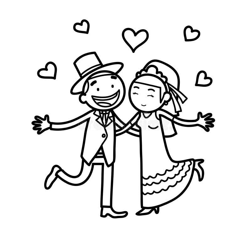 已婚新婚佳偶婚礼夫妇乱画 皇族释放例证