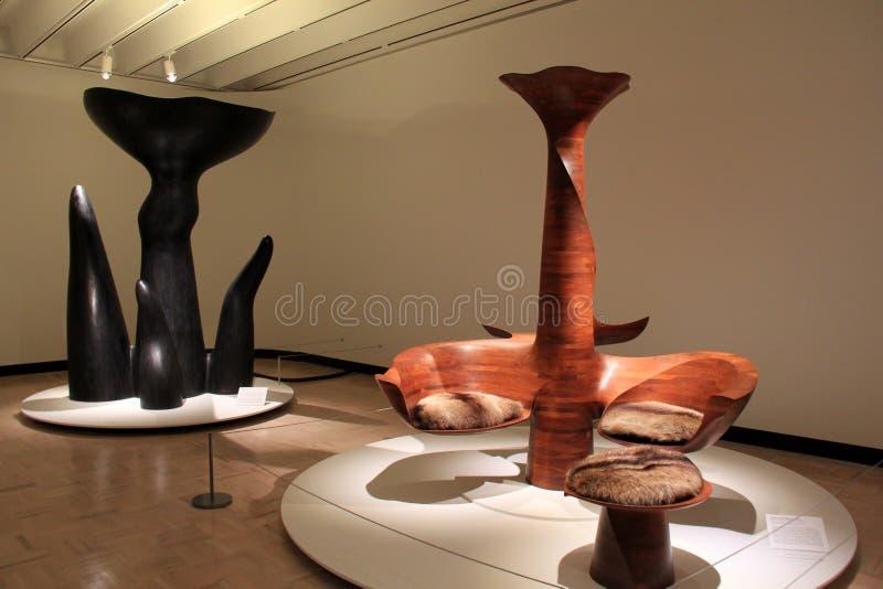 已故的文德尔创造的未来派家具的精妙的例子防御,纪念美术画廊,罗切斯特,纽约, 2017年 图库摄影