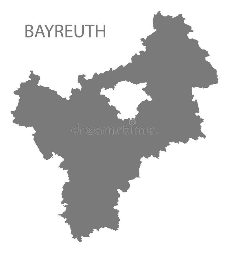 巴伐利亚德国的拜罗伊特灰色县地图 向量例证