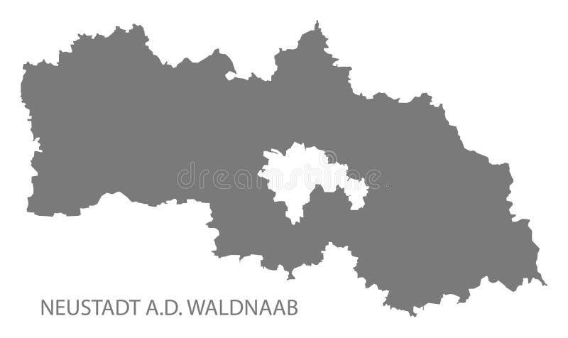 巴伐利亚德国的瓦尔德纳布河畔诺伊施塔特县灰色县地图 皇族释放例证