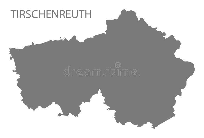 巴伐利亚德国的蒂申罗伊特灰色县地图 库存例证