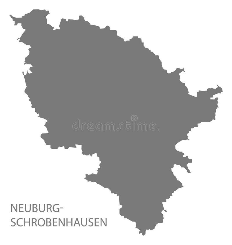 巴伐利亚德国的诺伊堡-施鲁本豪森县灰色县地图 皇族释放例证