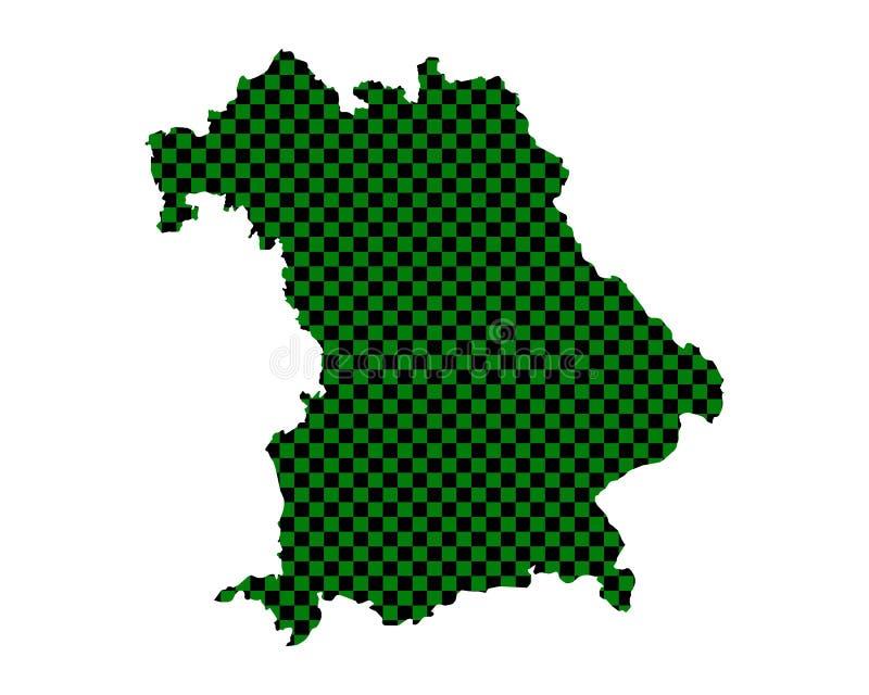 巴伐利亚的地图棋盘样式的 向量例证