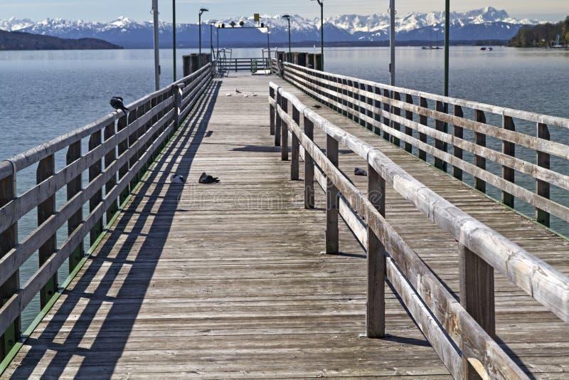 巴伐利亚跳船湖看到starnberger 库存图片